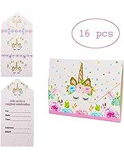 DONGYU Unicorn Girls Party Invitations,(Pack 16)
