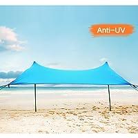 Zelt 4 personen, Lovebay Sonnensegel Outdoor Strandmuschel uv Schutz, leicht 100% Lycra Sichtschutz Garten Vorzelte 210 x 210 cm für Camping, Wandern, Angeln, Strand, Picknick