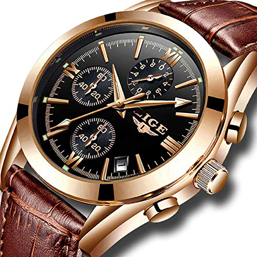 Mens Watches Leather Analog Quartz Watch Men Date Business Dress Wristwatch Men