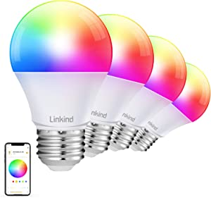 Smart WiFi Light Bulb, Linkind Smart RGBW Color Changing LED Light Bulb (2nd Gen), A19 E26 60W Equivalent, Dimmable, 2700k-6500k, Works with Alexa & Google Home, No Hub Needed, 2.4Ghz WiFi, 4 Pack