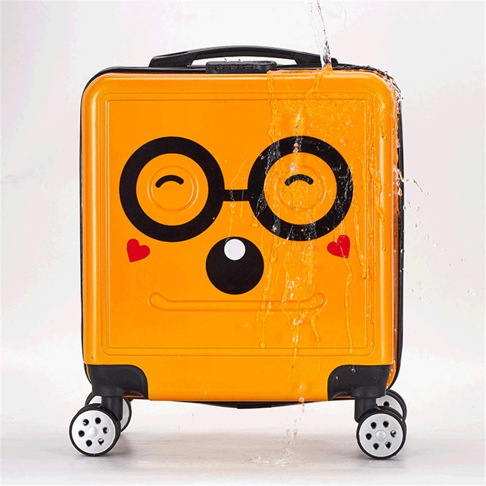 Black 3D Kids Carry on Luggage Cases 18in Cartoon Child Trolley Case Unisex Children Rolling Suitcase with Spinner Wheels Travel Suitcase