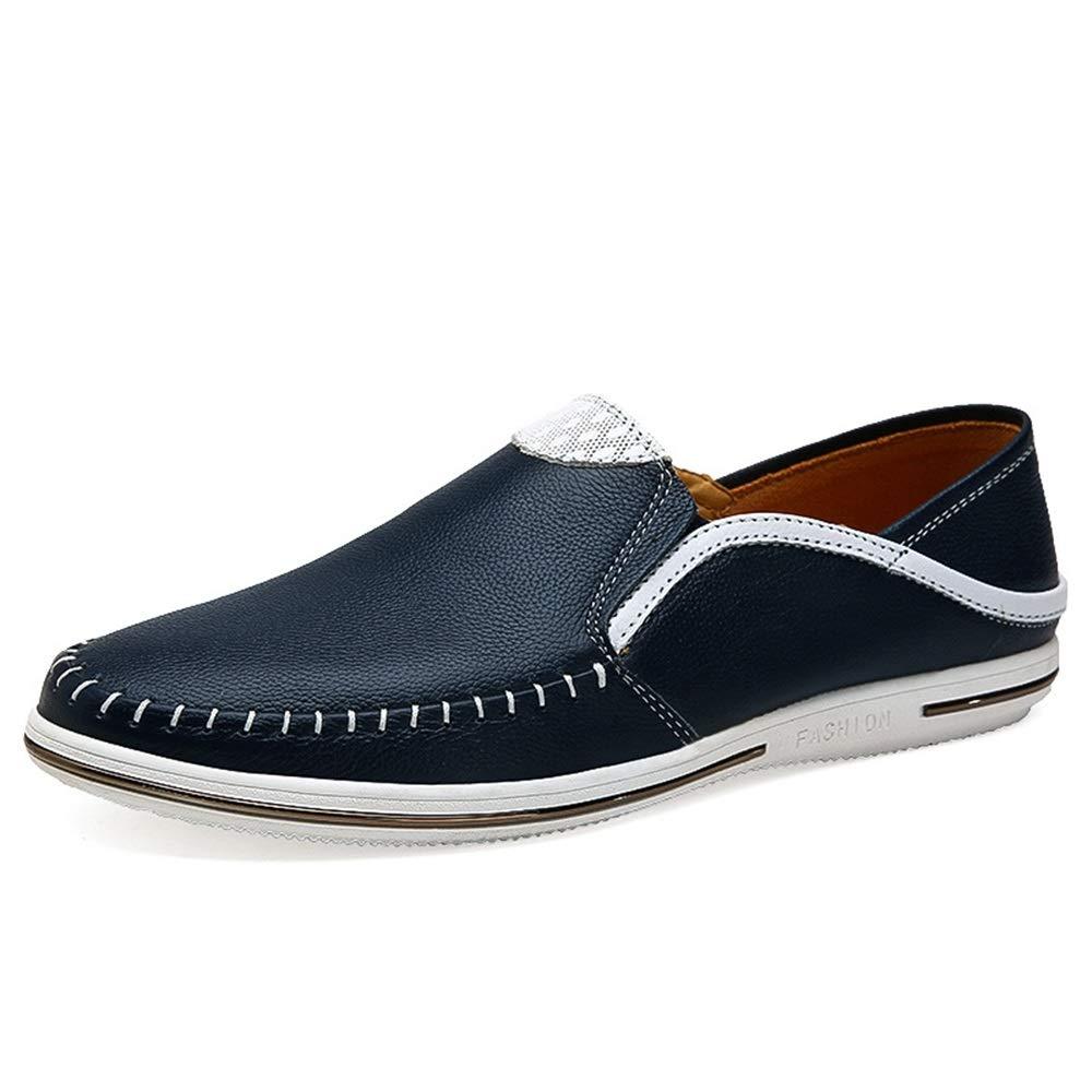 Qiusa Herren Slip weiche auf echtem Leder Schuhe weiche Slip Sohle beiläufige Breathable Durable Schuhe (Farbe : Blau, Größe : EU 41) Blau 442ec8