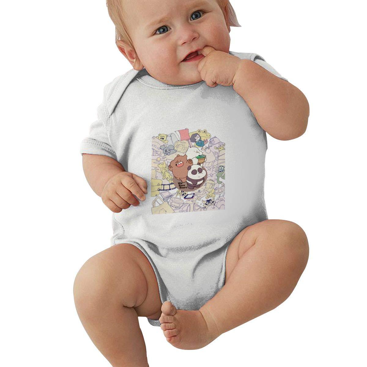 KunYuHeng Baby Boys Girls Crew Neck Short-Sleeve Jersey Bodysuit We Bare Bears Funny Jumpsuit Black
