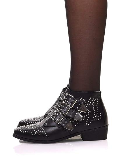2cdb2d8f37c Bottines Plates Noires entièrement cloutées  Amazon.fr  Chaussures ...