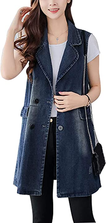 Flygo Womens Ripped Mid Denim Vest Sleeveless Jacket Irregular Tassel Hem
