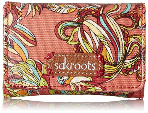 Sakroots Artist Circle Flap Id Keychain Credit Card Holder, Coral Treehouse, One Size - Id Flap Card Case