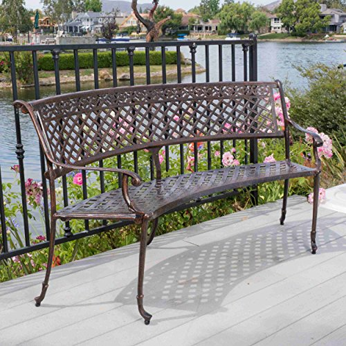 Bench Curved Garden (Premium Polished Gentle Curved Sturdy Cast Aluminum Contruction Weather-resistant in Shiny Cooper Finished (47 inches High x 16 inches Wide x 34 inches Long) Sector Bench)