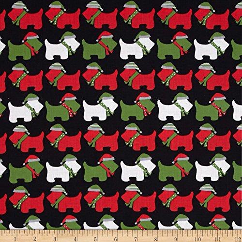 Dog Scottie Fabric (Kaufman Jingle Scottie Dogs Black Fabric By The Yard)