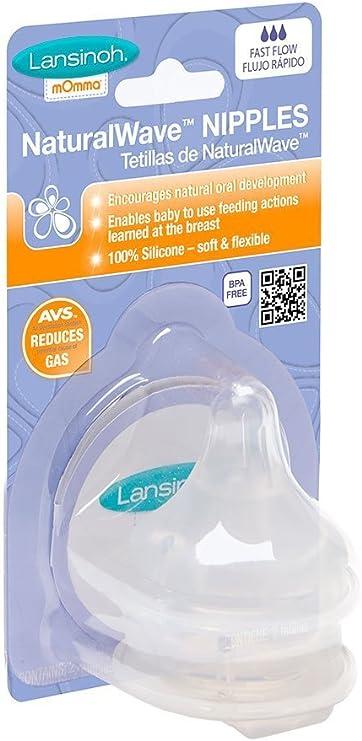 Lansinoh mOmma Media Flow tetinas para reci/én nacido Pack de 2, transparente