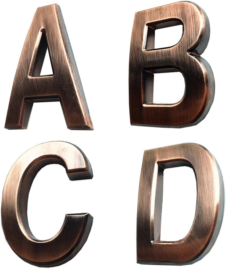 "4 Pcs Door Letters A B C D, 2.75 Inch Address Alphabet Stickers for House, Mailbox, Apartment, with Bronze Plated Process, Raised Model.(2.75"" A B C D, Bronze)"