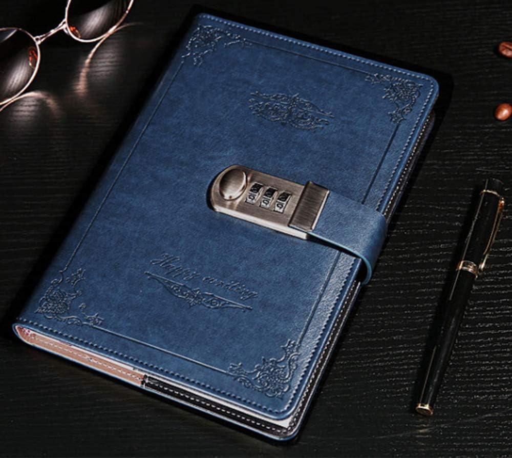 ARRLSDB Tagebuch mit Zahlenschloss und Zahlenschloss aus PU-Leder blau + silber