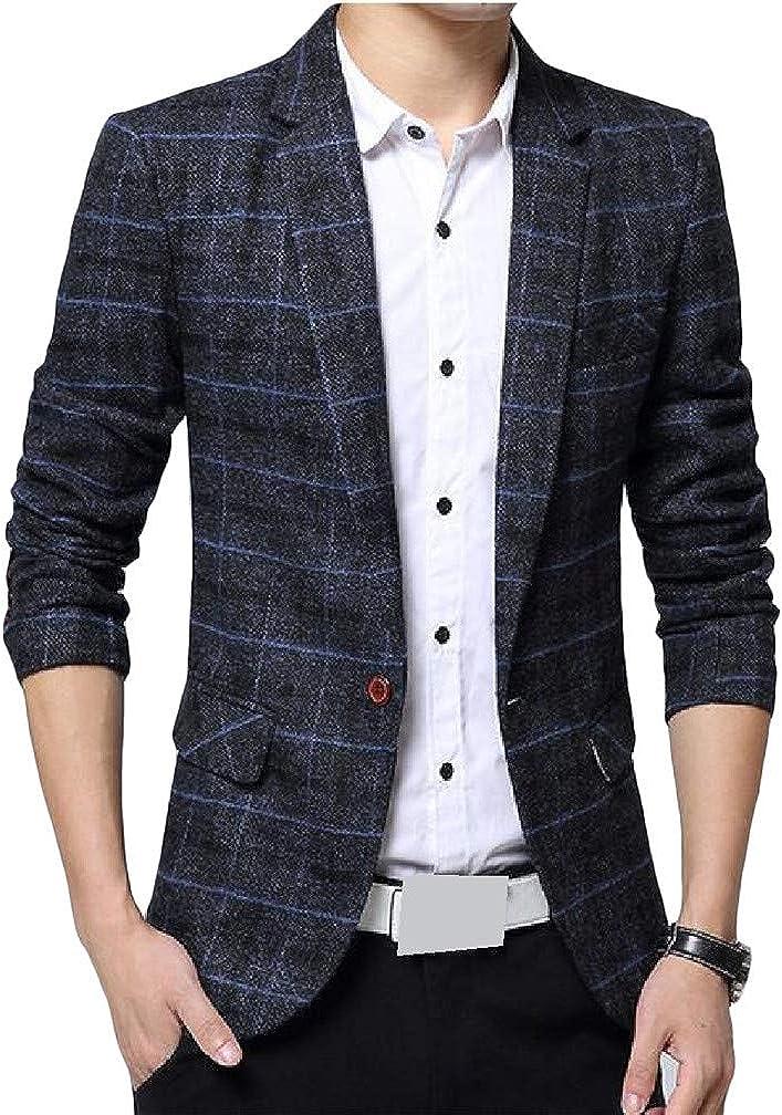 Lutratocro Mens Casual One Button Plaid Lapel Neck Coat Sports Blazer Jacket