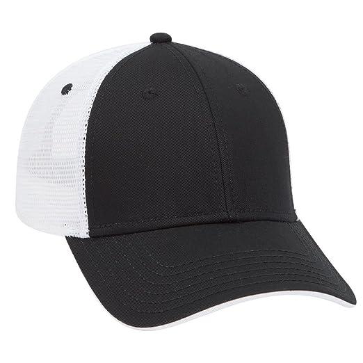 5c4d34f57f96ac OTTO Cotton Twill Flipped Edge Visor 6 Panel Low Profile Mesh Back Trucker  Hat - Blk/Blk/Wht at Amazon Men's Clothing store: