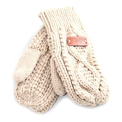 Aran Traditions Oatmeal Beige Diamond Cable Knit Mitts