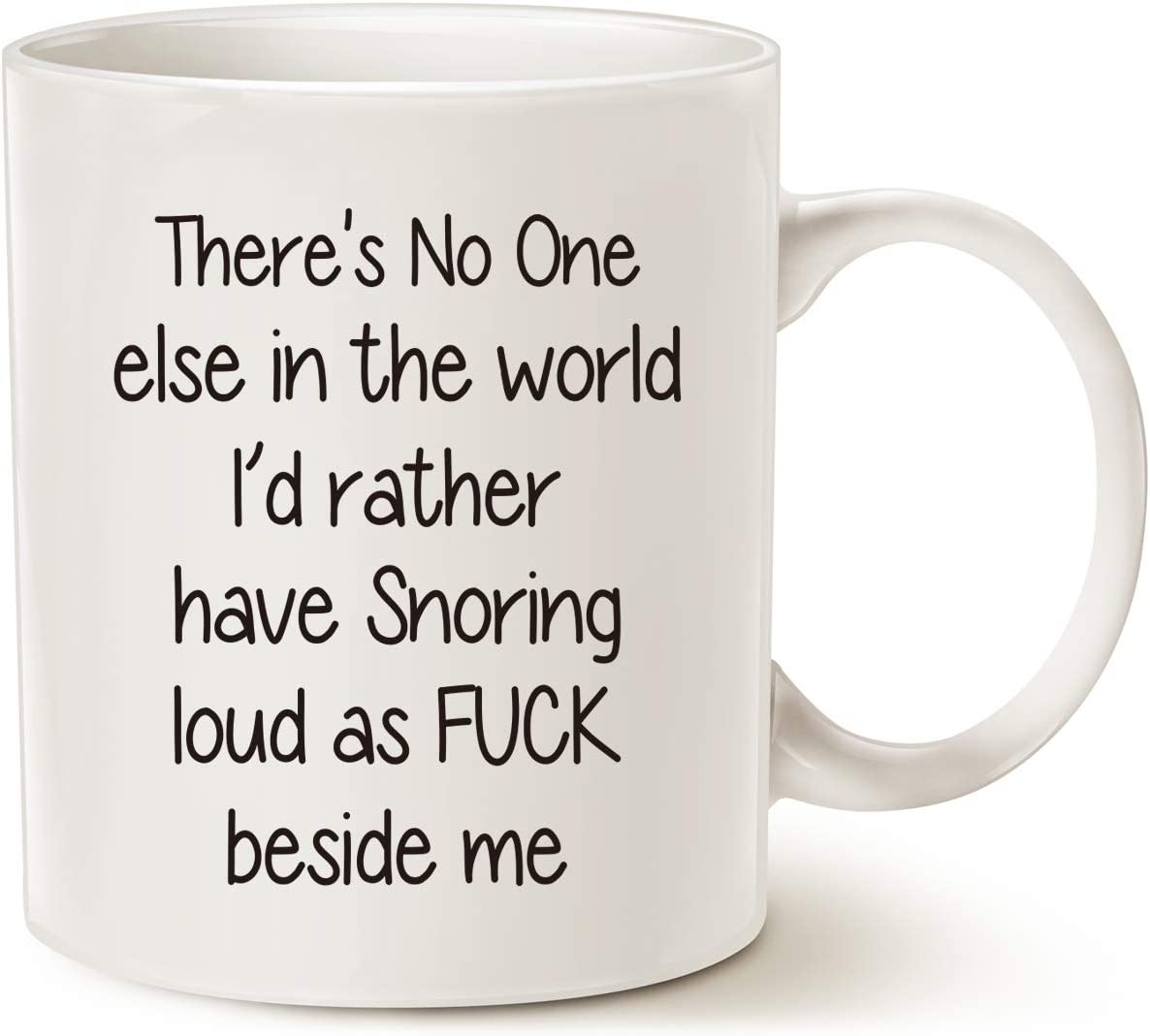 MAUAG Funny Snoring Mugs for Husband Who Snore, Best Gift for Valentine's Day and Wedding Anniversary White 11 Oz