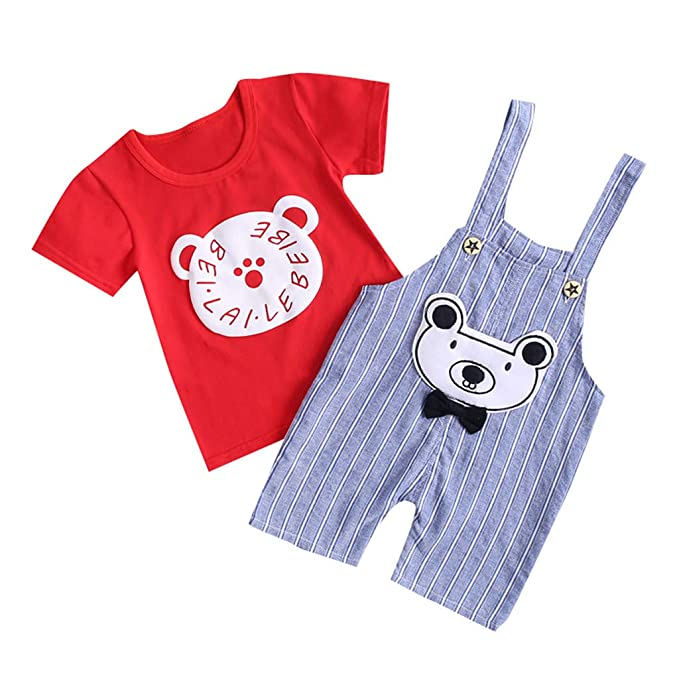 Berimaterry Conjuntos Bebé NiñO,onjuntos para bebé niños Unisex Ropa para recién Nacidos Verano Camisetas + Tirantes de Pantalones Corta para bebés ...