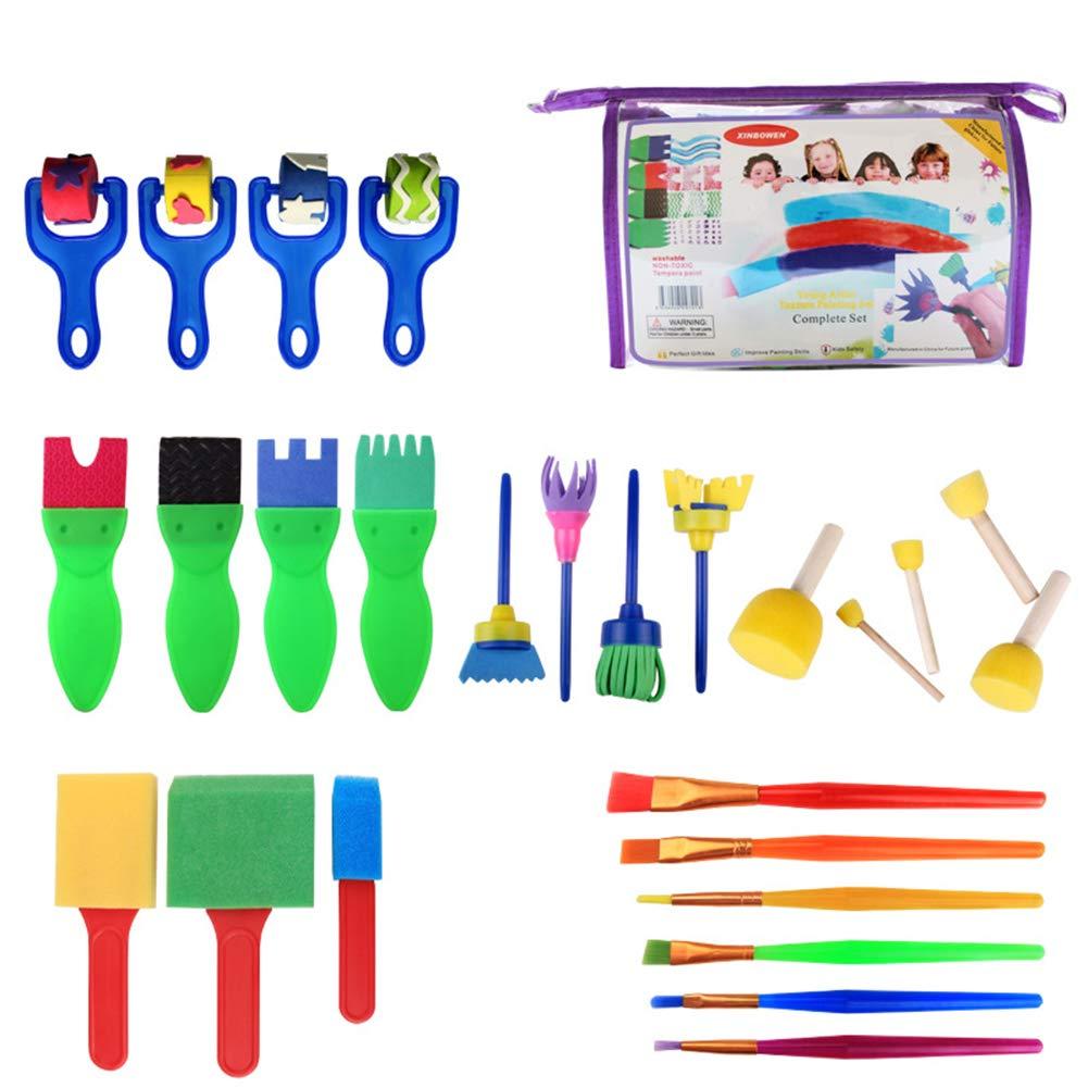 yibenwanligod 26Pcs Funny Wooden Sponge Brushes Paintbrush Drawing Painting DIY Kids Toys - Multicolor