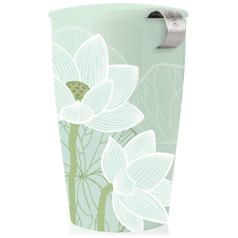 Tea Forte Kati Cup Lotus, Ceramic Tea Infuser Cup with Infuser Basket and Lid for Steeping Loose Leaf Tea