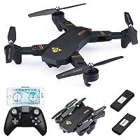 Virhuck RC Drone Pliable 720P VISUO XS809W 2 Batteries, 120 °Grand Angle Lentille / WiFi FPV / Maintien de l'Altitude / Mode sans Tête /Reculer à Une Touche /Cadeau Noël Anniversaire