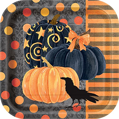 Square Painted Pumpkin Halloween Dessert Plates, (Halloween Painted Pumpkins)