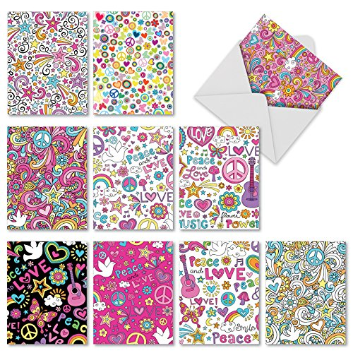 10 'Feelin' Groovy' Note Cards with Peace Signs and More w/Envelopes, Assorted Blank Greeting Cards, Stationery for Birthdays, Holidays, Thank Yous, Baby Showers (4 x 5.12 Inch) M3047