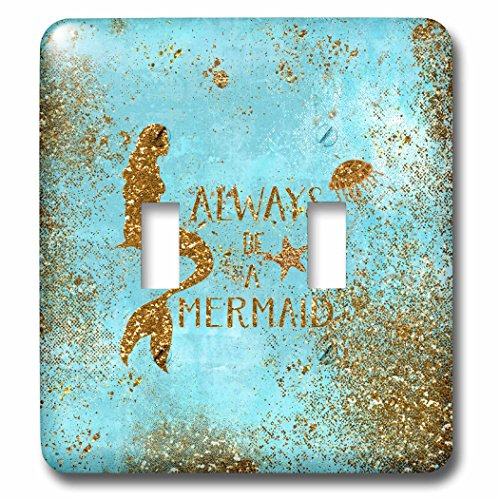 3dRose Uta Naumann Sayings and Typography - Gold Glittery Mermaid Quote on Sparkling Teal - Light Switch Covers - double toggle switch (lsp_266916_2)