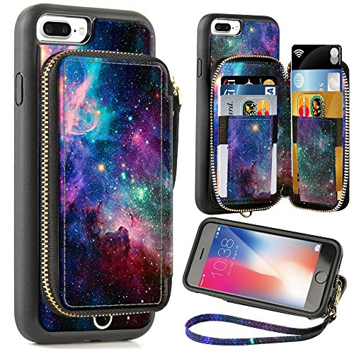 ZVE Wallet Case for Apple iPhone 8 Plus and iPhone 7 Plus, 5.5 inch, Zipper Wallet Case with Credit Card Holder Slot Handbag Purse Print Case for Apple iPhone 8/7 Plus 5.5 inch - Starry Sky (Black Zenon Case)