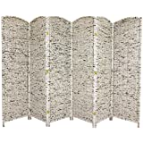 Oriental Furniture 6-Feet Tall Recycled Newspaper Room Divider, 6 Panels