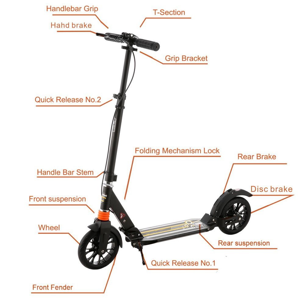 Amazon.com: Adulto Plegable Kick Scooter, 2 ruedas 3 niveles ...