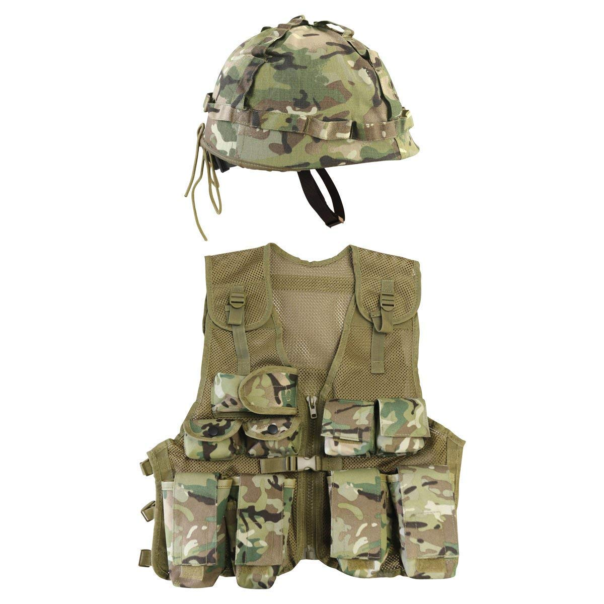 Kids Multi Cam Combat Vest & Camo Helmet, with Free Dog Tags, Fits Age 5-12
