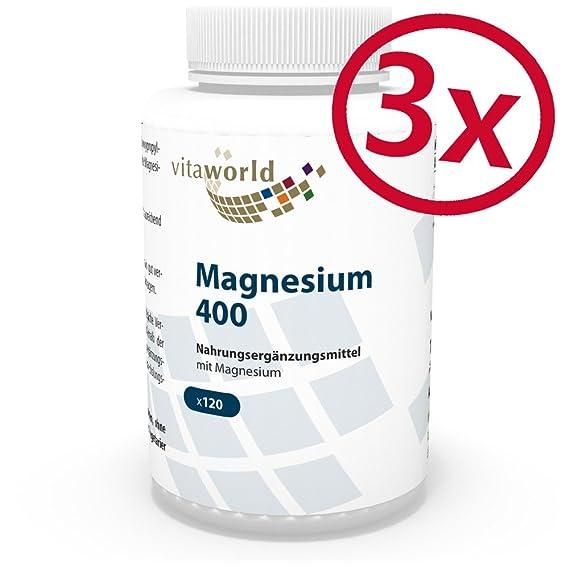 Pack de 3 Magnesio 400mg 3 x 120 Cápsulas Vegetales - Vita World Producción Farmacia Alemania: Amazon.es: Salud y cuidado personal