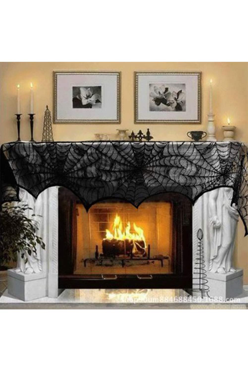 Halloween Decoration Black Lace Spiderweb Fireplace Mantle Scarf Cover Festive Party Supplies 18 x 96 inch