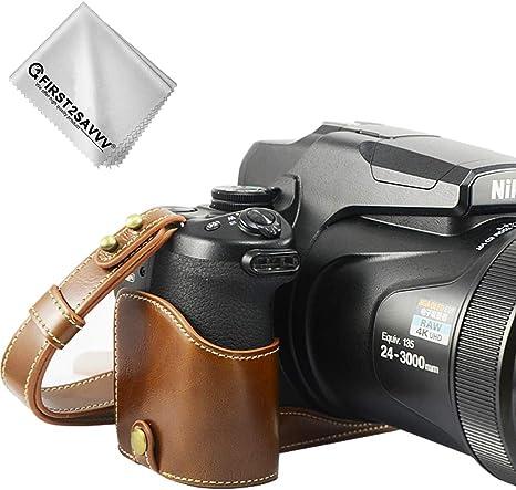 marrón Funda Cámara Cuero de la PU cámara Digital Bolsa Caso ...