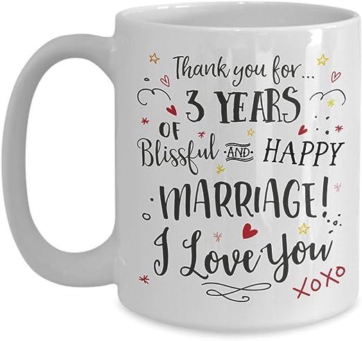 Amazon Com 3rd Wedding Anniversary Gift Mug Blissful Happy Marriage Cup Wife Or Husband Present 3 Three Years Married Third Year Anniversary Coffee Mug Kitchen Dining