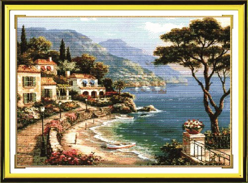 Benway Counted Cross Stitch Seaside With Boat House Trees An