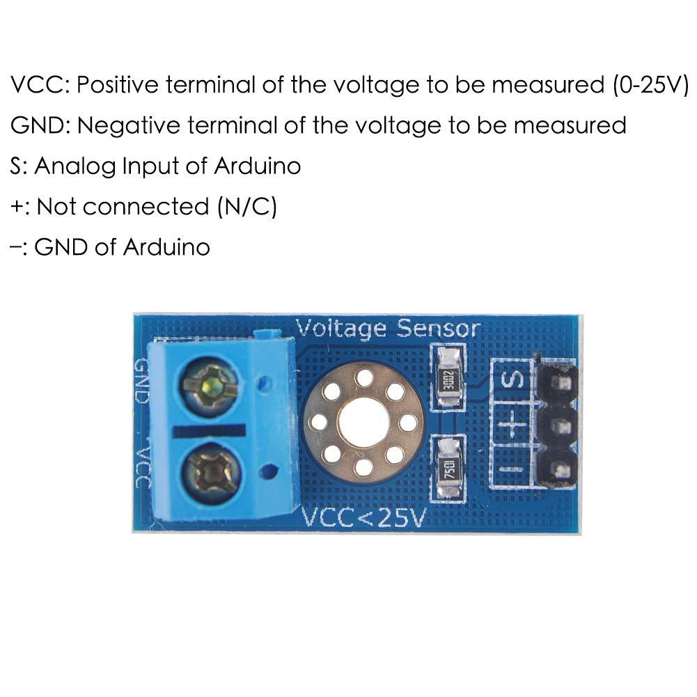 Spannungssensor f/ür Arduino Gleichstrom 0-25 V 5 St/ück