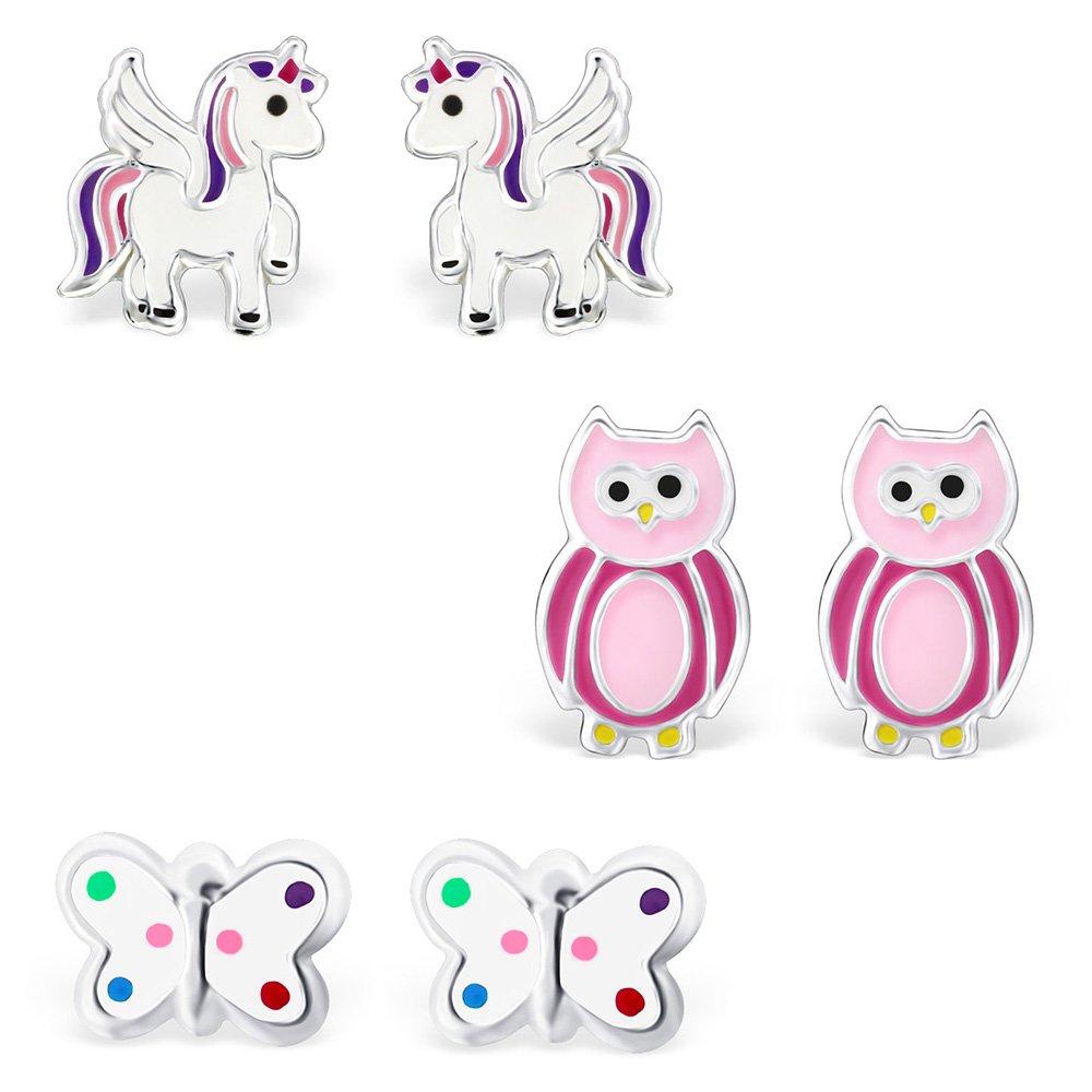 Happy Silver Boucles d'oreille Kit pour femme et enfant–Licorne, chouette, papillon–Argent Sterling 925, 3paires/lot de 6–HS de 1001 HS-1001