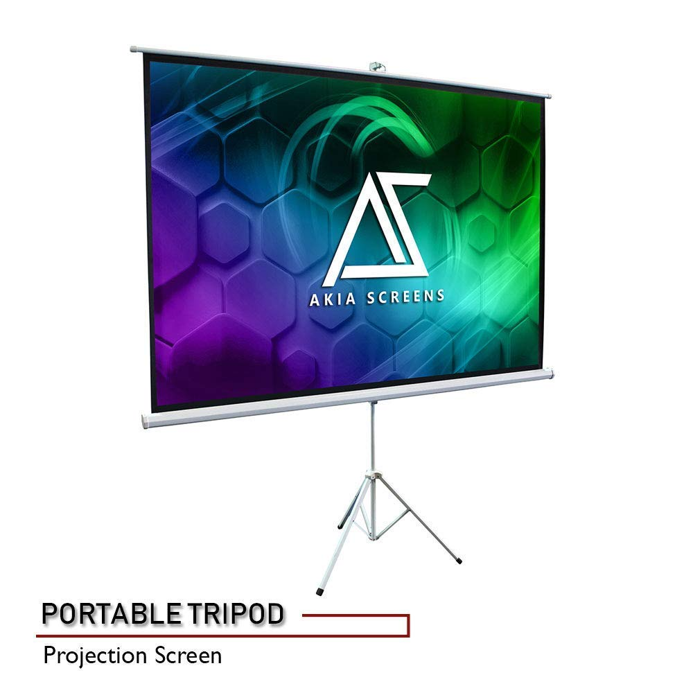 Akia Screens 100'' Portable Indoor Outdoor 4:3 Tripod Projector Screen 8K / 4K Ultra HD 3D Ready Pull Up Collapsible Projection Screen with Adjustable Tripod Stand Foldable Projector Screen AK-T100SB1 by AKIA SCREENS