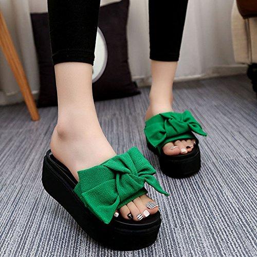 Vinstoken Sandalia con Plataforma para Mujer Dulce Bowknot Zapatillas de Playa del Talón 6cm Negro Verde Rosado Rojo 35-39 Verde