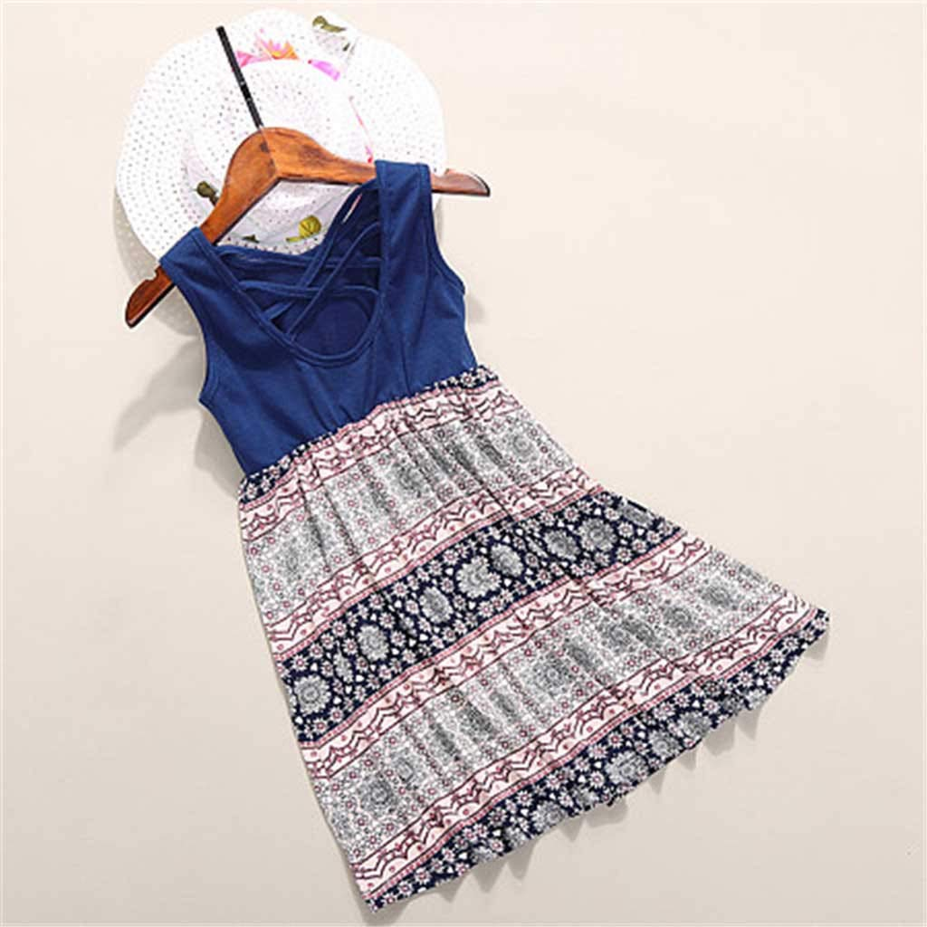 Mommy Family Matching Dresses Sleeveless Floral Tank Dresses Mother Daughter Outfits for Casual Wearing