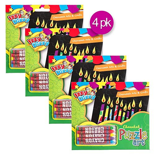 Izzy 'n' Dizzy Chanukah Puzzle Art Kit - Includes 5 Colored Crayons, 1 Puzzle Board - 7