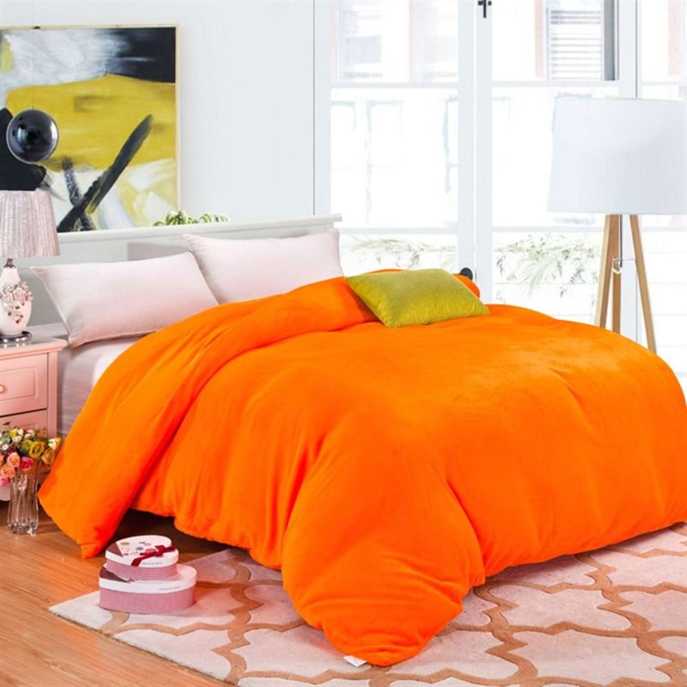 Double fleece pure color duvet cover Quilt cover Single [winter] Plus velvet thickened [coral] Student dormitory Quilt cover-A 150x200cm(59x79inch) IDGYQFDBVR