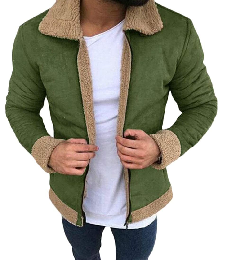 XTX Mens Fall Winter Fleece Zip Front Thicken Warm Suede Quilted Jacket Coat Outerwear