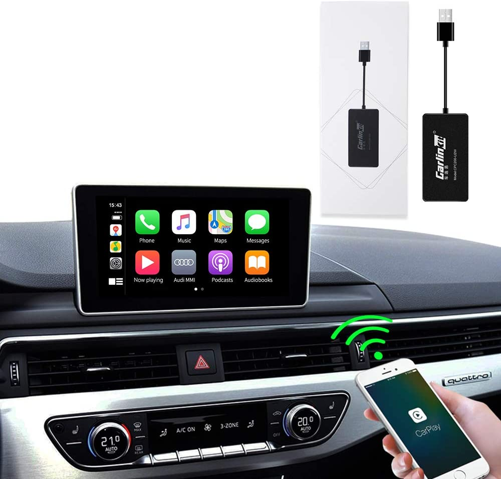 Carlinkit 2.0 carplay dongle Original car Wireless carplay Activator Adapter for Audi A4 Q7 A5 A8 OEM Stereo Upgrade with Wired carplay Support Steering Wheel Button