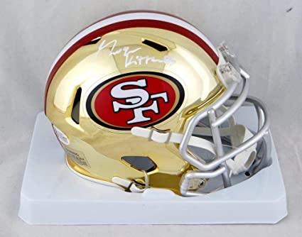 36f69a043 Image Unavailable. Image not available for. Color  George Kittle  Autographed San Francisco 49ers Chrome Mini Helmet- ...