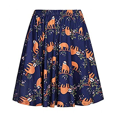 YJQ Women's High Waist Cute Animals Printed Skater Skirt Pleated Skirt