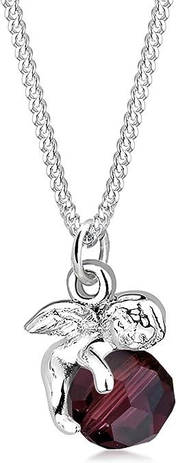 Elli Damen Halskette mit Engel Anhänger und Swarovski Kristall in 925 Sterling Silber 45 cm lang