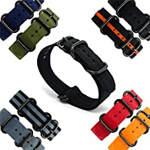 CIVO Heavy Duty G10 Zulu Military Watch Bands NATO Premium Ballistic Nylon Watch Strap 5 Black Rings with Stainless Steel Buckle 20mm 22mm 24mm (black, 20mm)