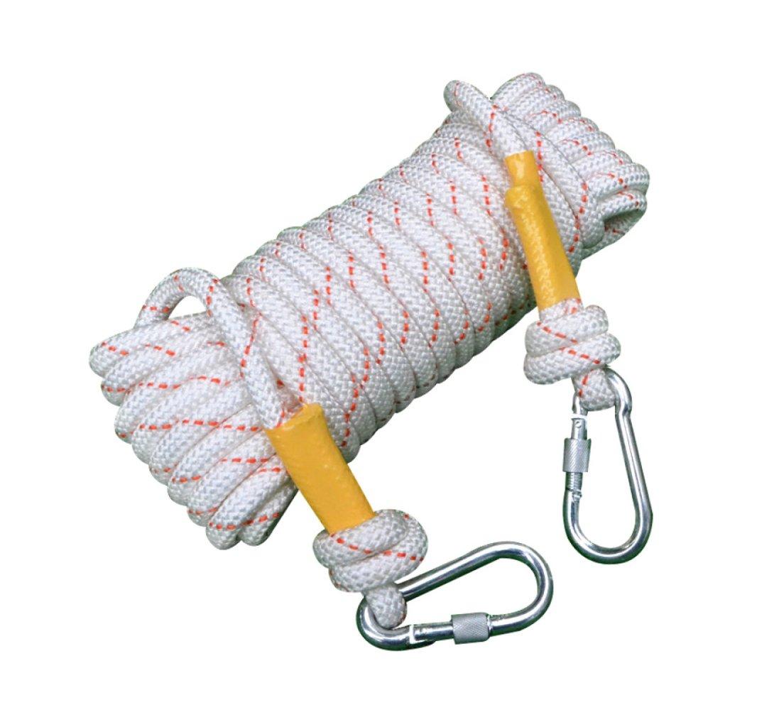 Blanc ERHANG Corde d'escalade Noyau De Fil Extérieur Sécuritéévasion Nylon Corde De Sauvetage Résistant à l'abrasion Ménage 50m16mm