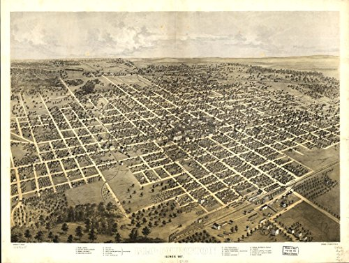 8 x 10 Reprinted Old Vintage Antique Map of: c.1867 Bloomington, Illinois 1867. - Illinois 1867 Map